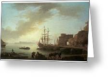 A Mediterranean Port At Dawn Greeting Card by Claude-Joesph Vernet