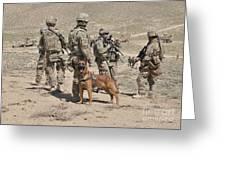 A Military Working Dog Accompanies U.s Greeting Card