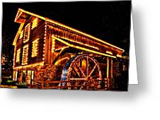 A Mill In Lights Greeting Card by DJ Florek