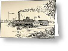 A Mississippi Steamer Off St Louis From American Notes By Charles Dickens  Greeting Card by EH Fitchew