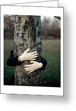 A Model Hugging A Tree Greeting Card