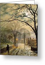 A Moonlit Stroll Bonchurch Isle Of Wight Greeting Card by John Atkinson Grimshaw