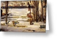 A Morning Snow On The Hudson River Greeting Card
