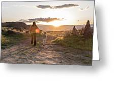 A Mother And Child Hike At Sunset Greeting Card