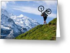 A Mountain Biker Is Carrying His Bike Greeting Card