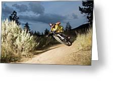 A Mountain Biker Rides A Trail Greeting Card