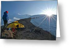 A Mountaineer Contemplates The Sun Greeting Card