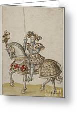 A Mounted Knight With Lance Greeting Card