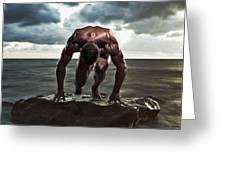 A Muscular Man In The Starting Position Greeting Card