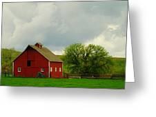 A Neat Red Barn Near Sheridan Wyoming Greeting Card