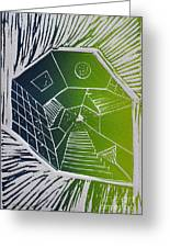 A New Dimension Blue And Green Linocut Greeting Card