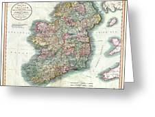 A New Map Of Ireland 1799 Greeting Card