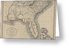 A New Map Of Part Of The United States Of North America Greeting Card
