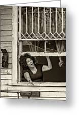 A New Orleans Greeting Sepia Greeting Card