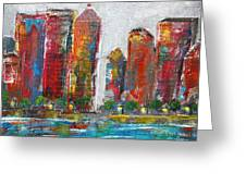 A Night In The City Greeting Card by Melisa Meyers