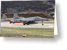 A Northrop F-5e Tiger Of The Swiss Air Greeting Card
