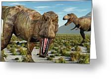 A Pack Of Tyrannosaurus Rex Dinosaurs Greeting Card