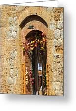 A Painting A Tuscan Shop Doorway Greeting Card