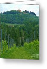 A Painting A Tuscan Vineyard And Villa Greeting Card