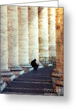 A Painting Alone Among The Vatican Columns Greeting Card