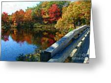 A Painting Autumn Lake And Bridge Greeting Card
