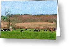 A Painting Cows Grazing And Newport Bridge Greeting Card