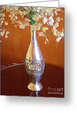 A Painting Silver Vase On Table Greeting Card