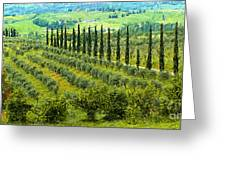 A Painting Tuscan Panoramic 4 Greeting Card