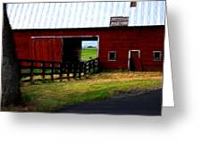 A Peaceful Day With A Barn Greeting Card by Christine Burdine