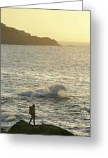 A Person Hiking On Rocky Shore Greeting Card
