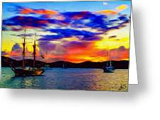 A Pirate's Sunset Greeting Card
