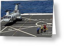 A Plane Captain Signals To A Ch-46e Sea Greeting Card