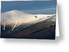 A Plane Flies In The Distance Over Mt Greeting Card