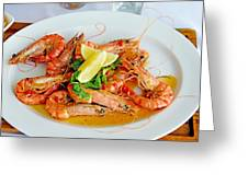 A Plate Of Shrimp Greeting Card