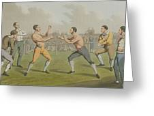 A Prize Fight Aquatinted By I Clark Greeting Card by Henry Thomas Alken