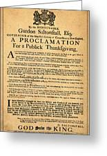 A Proclamation Of Thanksgiving Greeting Card by Digital Reproductions