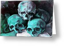 A Pyramid Of Skulls After Cezanne Greeting Card
