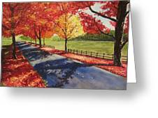 A Quiet Autumn Road Greeting Card
