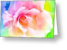 A Rainbow Of A Rose Greeting Card by Cathie Tyler