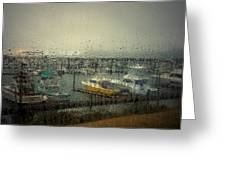 A Rainy Evening On The Port Greeting Card