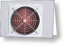 A Red Industrial Ventilated Fan On Grey Wall Greeting Card