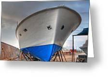 a resting boat in Jaffa port Greeting Card