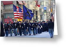 A Revolutionary Battalion Marching In The 2009 New York St. Patrick Day Parade Greeting Card