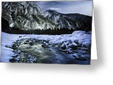 A River Flowing Through The Snowy Greeting Card