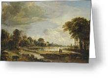 A River Landscape With Figures And Cattle Greeting Card
