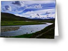 A River Splits The Landscape Greeting Card