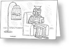 A Robot Sits Reading In A Chair Greeting Card