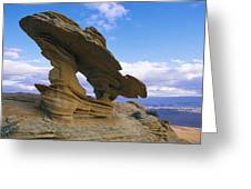 A Rock Formation Shaped By Wind Erosion Greeting Card