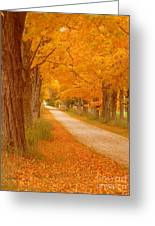 A Romantic Country Walk In The Fall Greeting Card