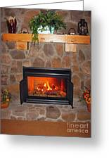 A Room With A Fireplace Greeting Card